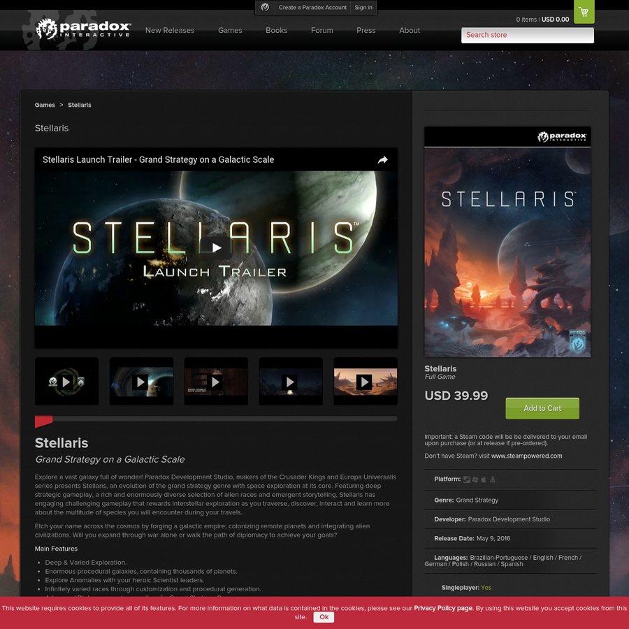 Explore a vast galaxy full of wonder! Paradox Development Studio, makers of the Crusader Kings and Europa Universalis series presents Stellaris, an evolution of the grand strategy genre with space exploration at its core.