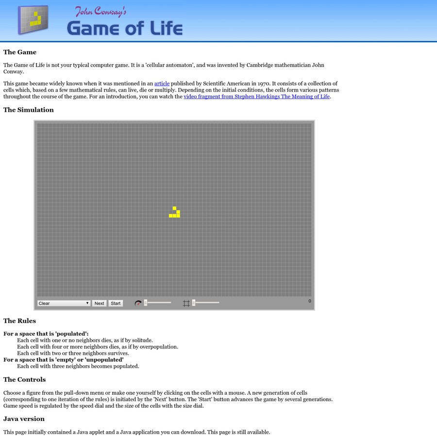 Play John Conway's Game of Life right now in your browser.