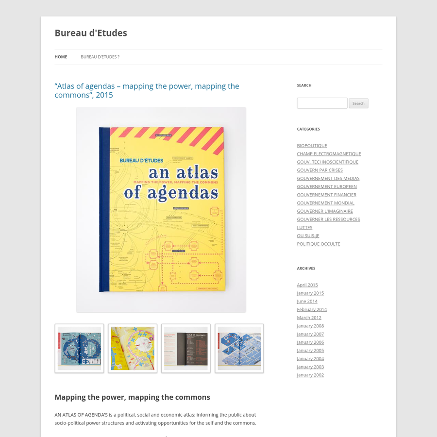 AN ATLAS OF AGENDA'S is a political, social and economic atlas: informing the public about socio-political power structures and activating opportunities for the self and the commons. The French research and design group Bureau d´Études has been producing maps of contemporary political, social and economic systems that allow people to inform, reposition and empower themselves.