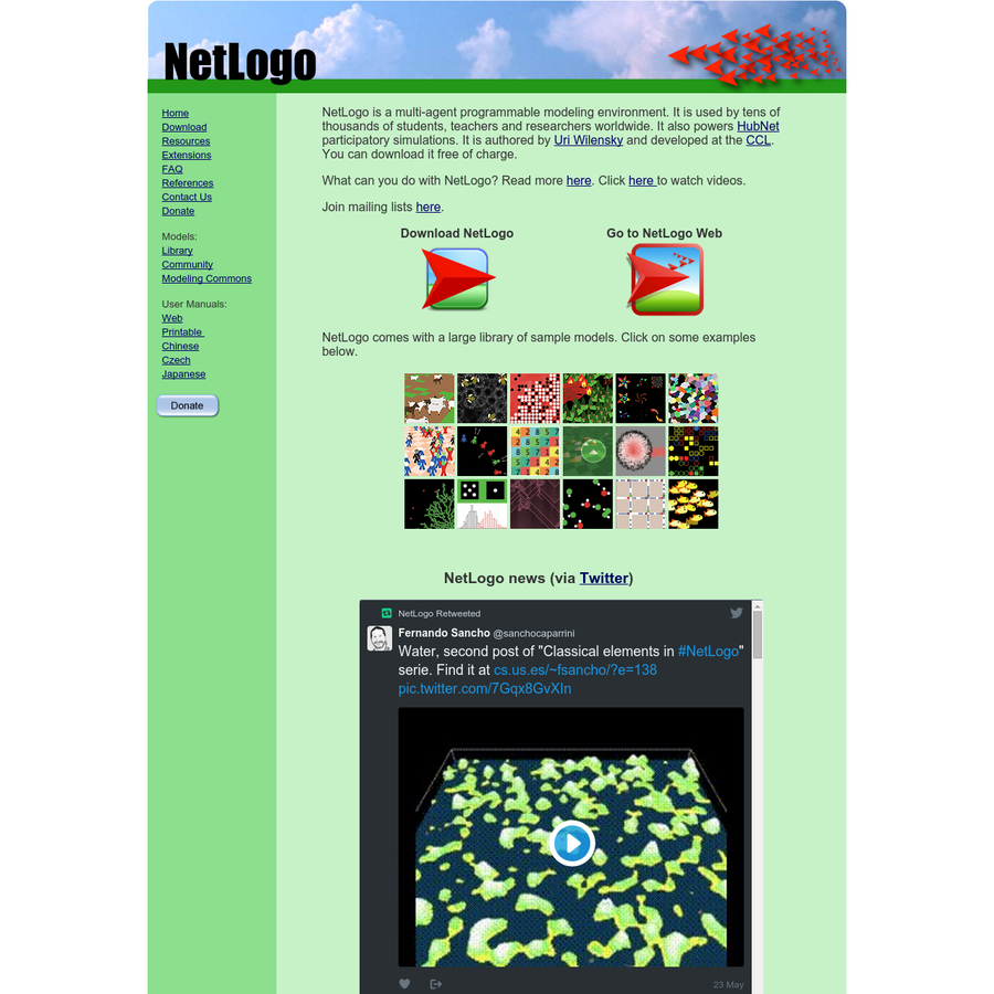 NetLogo is a multi-agent programmable modeling environment. It is used by tens of thousands of students, teachers and researchers worldwide. It also powers HubNet participatory simulations. It is authored by Uri Wilensky and developed at the CCL. You can download it free of charge.