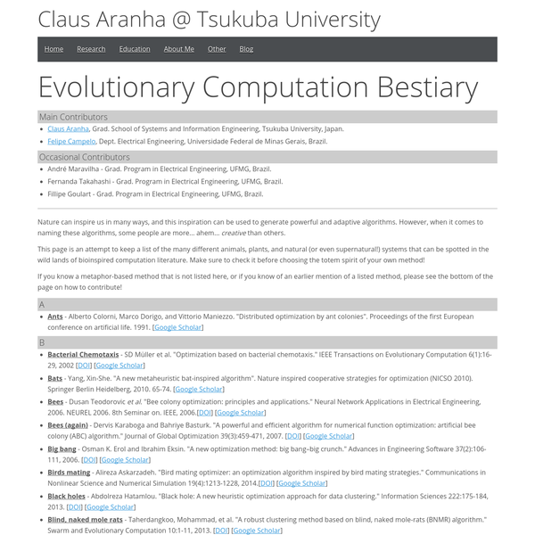 This page is an attempt to keep a list of the many different animals, plants, and natural (or even supernatural!) systems that can be spotted in the wild lands of bioinspired computation literature. Make sure to check it before choosing the totem spirit of your own method!