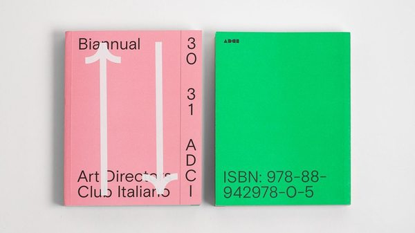 Pink + green 💗 💚 💗Designed by @madebytuta, Italian professional organization @artdirectorsclubitaly's biannual awards book n...