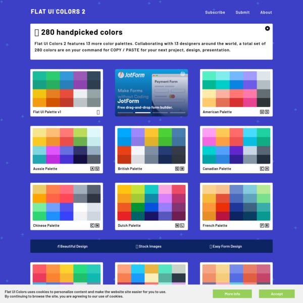 Flat UI Colors 2 - 14 Color Palettes, 280 colors 🎨