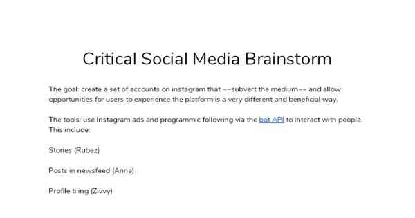 Critical Social Media Brainstorm