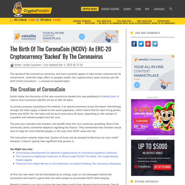 The Birth Of The CoronaCoin (NCOV): An ERC-20 Cryptocurrency 'Backed' By The Coronavirus