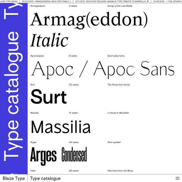 Blaze Type   Type catalogue