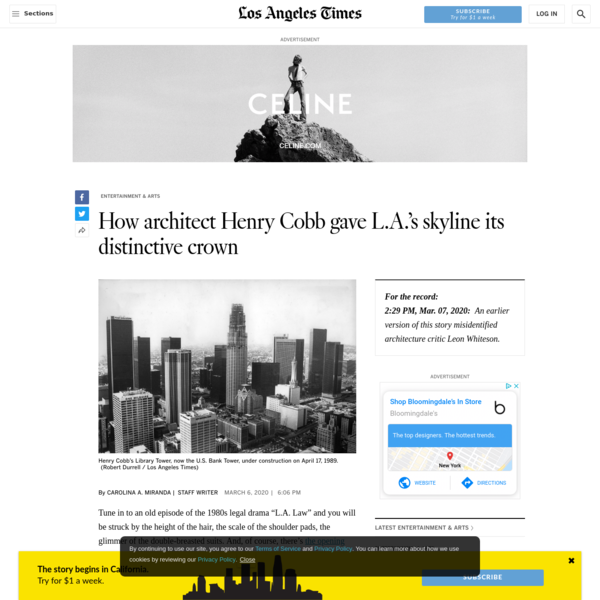How architect Henry Cobb gave L.A.'s skyline its distinctive crown