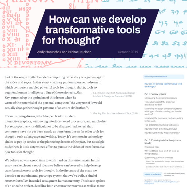 How can we develop transformative tools for thought?