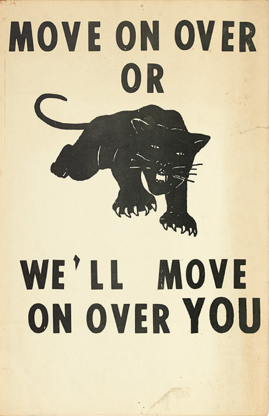 Though later associated with the Black Panther Party, the panther image was first used by the Lowndes County Freedom Organization.   Lowndes County, Alabama was well known during the 1950s and 1960s for its virulent racism and repression of black residents. 12,000 of its 15,000 residents were African American, more than half lived below the poverty line, and at the beginning of 1965, none were registered to vote. That year, the Student Nonviolent Coordinating Committee (SNCC) began a voter registration campaign to politically empower the black residents. They joined with John Hulett, the first Black resident of Lowndes County to vote, and turned his church-based Lowndes County Christian Movement for Human Rights into the secular Lowndes County Freedom Organization in January of 1966. The organization urged community members to seize political power by voting, and began using the black panther as a symbol on their ballot.  [Text source](http://collection-politicalgraphics.org/detail.php?type=browse&id=1&term=Black+Panther+Party&module=objects&kv=3126&record=32&page=1)