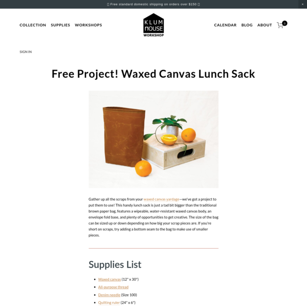 Free Project! Waxed Canvas Lunch Sack - Klum House Workshop