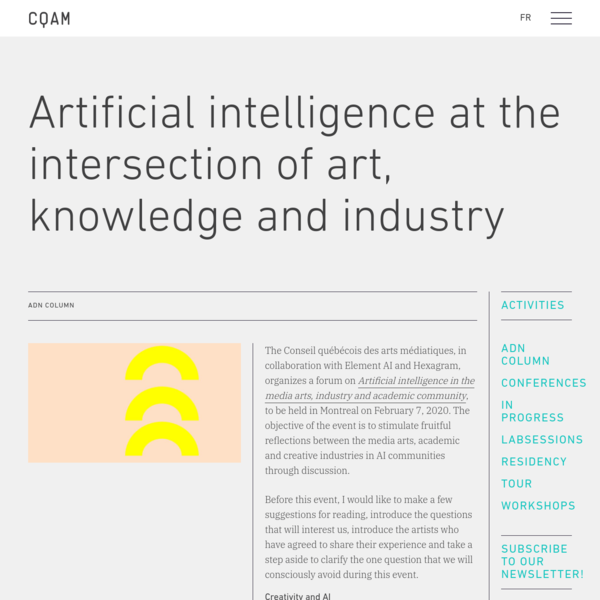 Artificial intelligence at the intersection of art, knowledge and industry - Conseil québécois des arts médiatiques