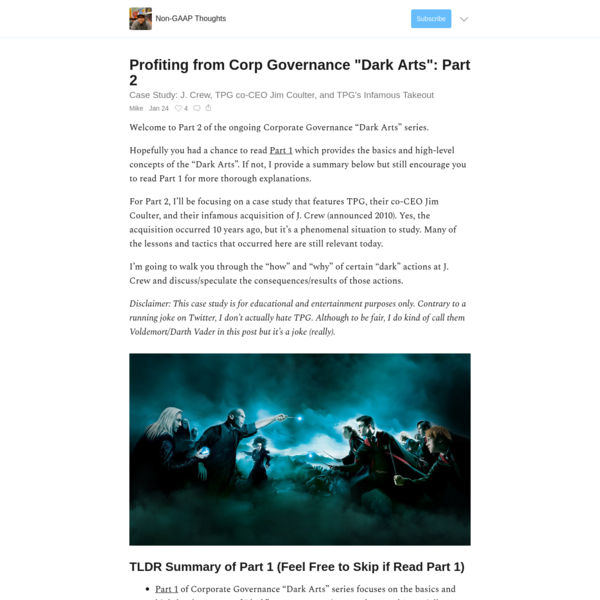 """Profiting from Corp Governance """"Dark Arts"""": Part 2"""