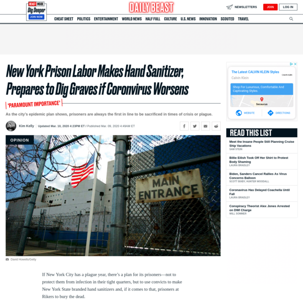 New York Prison Labor Makes Hand Sanitizer, Prepares to Dig Graves if Coronvirus Worsens