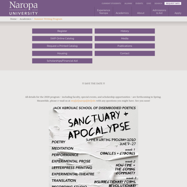 Summer Writing Program | Naropa University