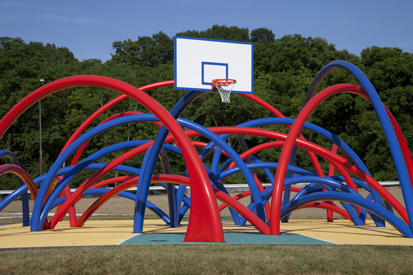 """Free Basket"" by Los Carpinteros located at - 100 Acres: The Virginia B. Fairbanks Art and Nature Park, in Indianapolis, Indiana, United States"