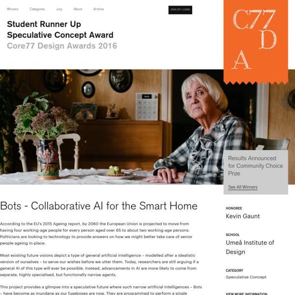 Bots - Collaborative AI for the Smart Home - by Kevin Gaunt / Core77 Design Awards