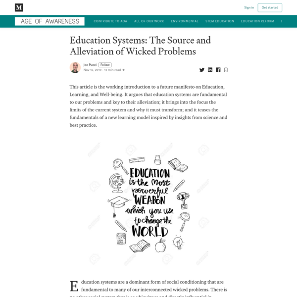 Education Systems: The Source and Alleviation of Wicked Problems