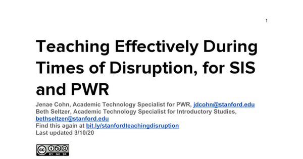 Teaching Effectively During Times of Disruption