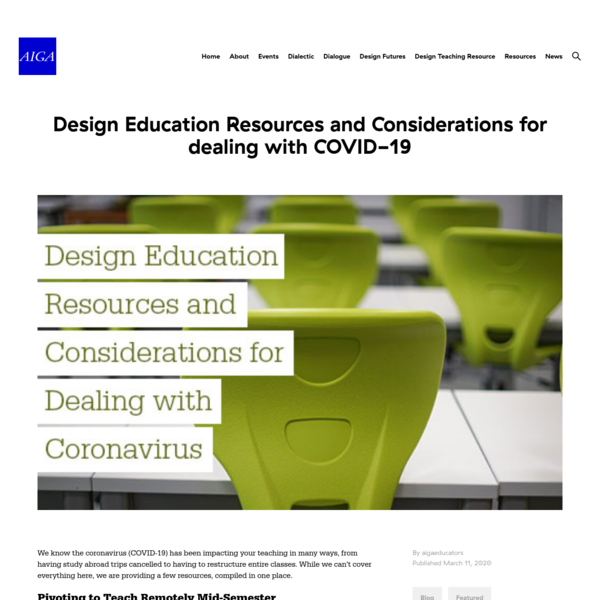 Design Education Resources and Considerations for dealing with COVID-19 | AIGA Design Educators Community