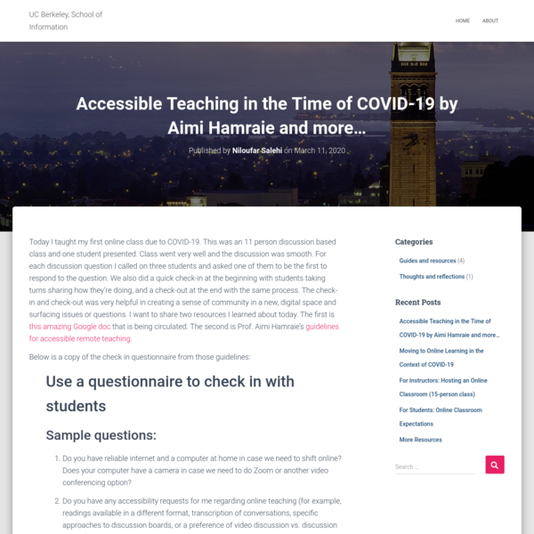 Accessible Teaching in the Time of COVID-19 by Aimi Hamraie and more...
