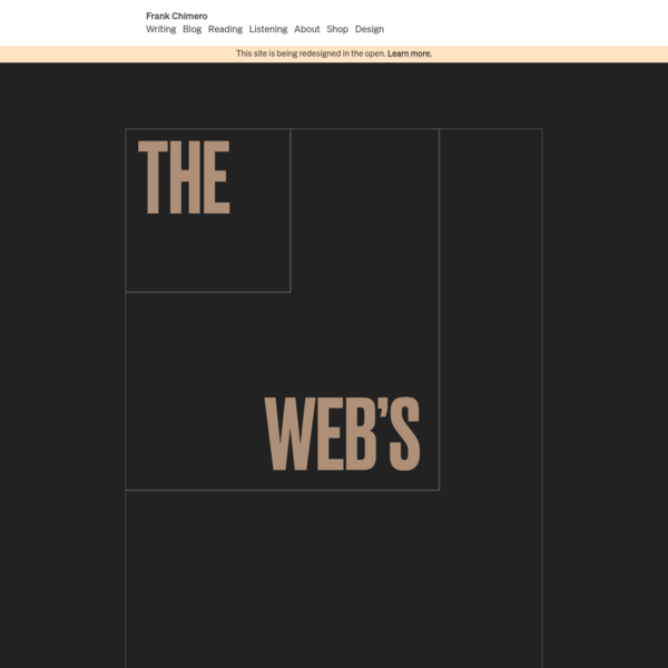 Frank Chimero · The Web's Grain