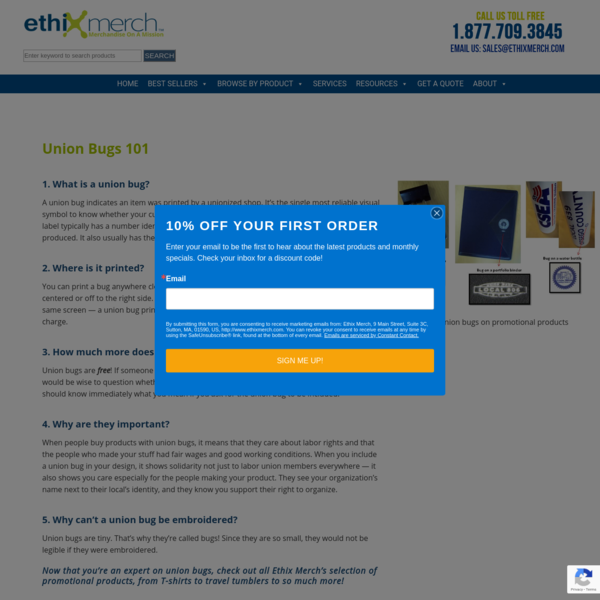 Union Bug Printing | Union Made Promotional Products | Ethix Merch