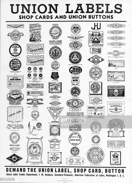 poster-displaying-a-variety-of-union-labels-shop-cards-and-buttons-picture-id109721711