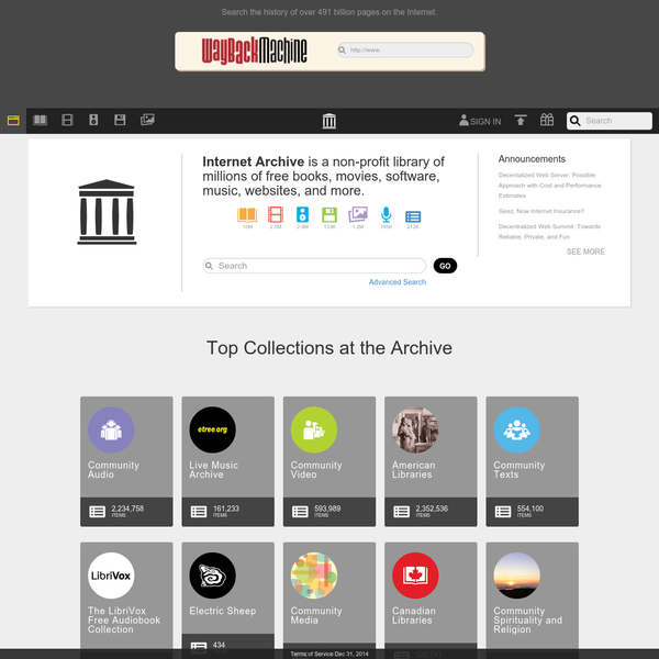 Internet Archive is a non-profit digital library offering free universal access to books, movies & music, as well as 487 billion archived web pages.