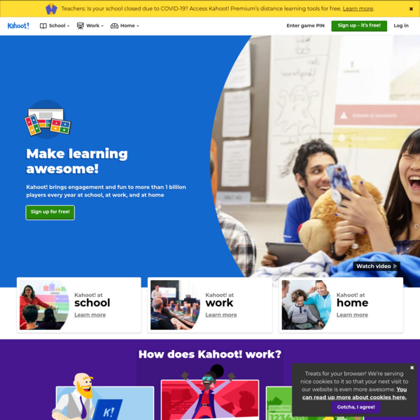 Kahoot!   Learning games   Make learning awesome!