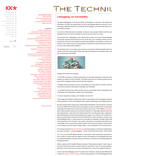 The Technium: Lifelogging, An Inevitability