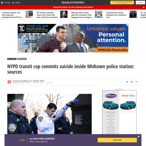 NYPD transit cop commits suicide inside Midtown police station: sources