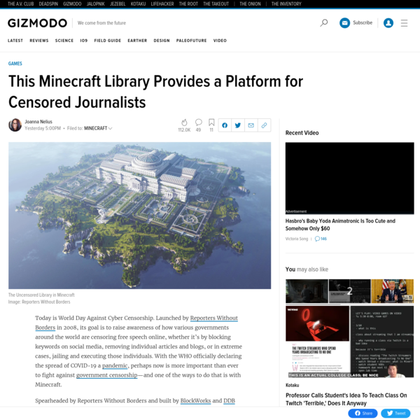 This Minecraft Library Provides a Platform for Censored Journalists
