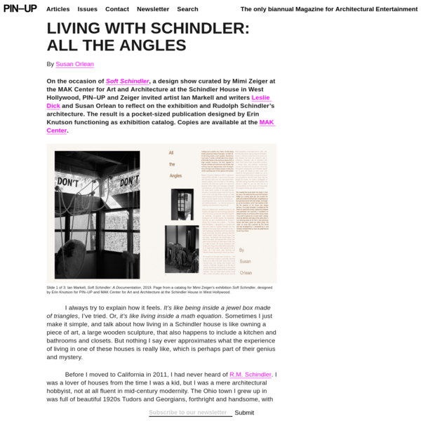 LIVING WITH SCHINDLER: All The Angles