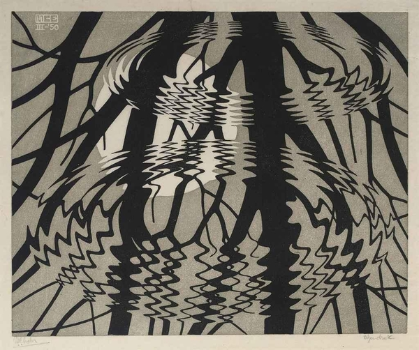 M.C. Escher, Rippled Surface Colour, 1950