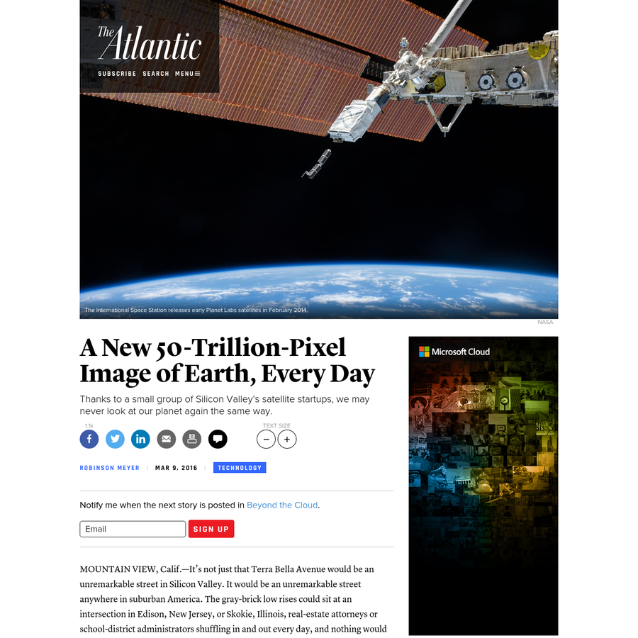 Thanks to a small group of Silicon Valley's satellite startups, we may never look at our planet again the same way. Please consider disabling it for our site, or supporting our work in one of these ways Subscribe Now > MOUNTAIN VIEW, Calif.-It's not just that Terra Bella Avenue would be an unremarkable street in Silicon Valley.