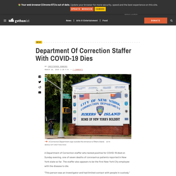 Department Of Correction Staffer With COVID-19 Dies