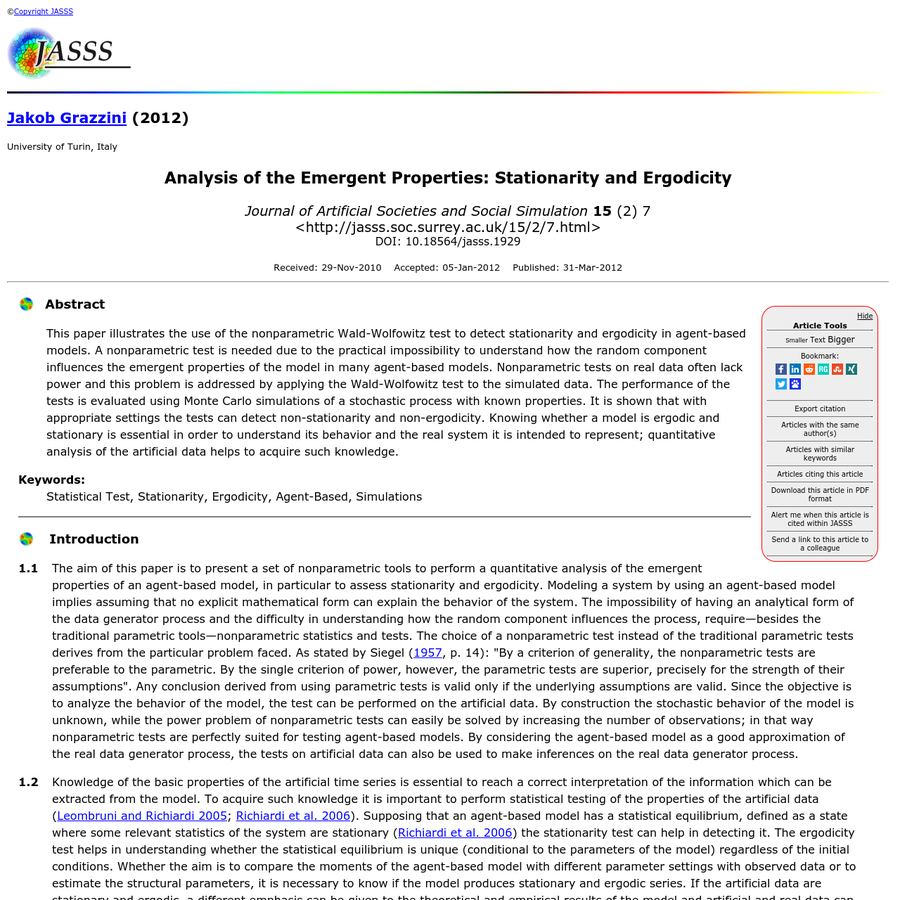 Analysis of the Emergent Properties: Stationarity and Ergodicity