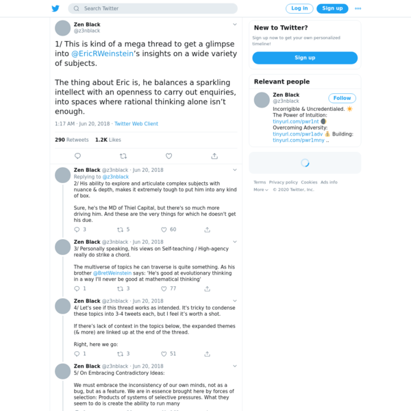 """Zen Black on Twitter: """"1/ This is kind of a mega thread to get a glimpse into @EricRWeinstein's insights on a wide variety of subjects. The thing about Eric is, he balances a sparkling intellect with an openness to carry out enquiries, into spaces where rational thinking alone isn't enough."""" / Twitter"""
