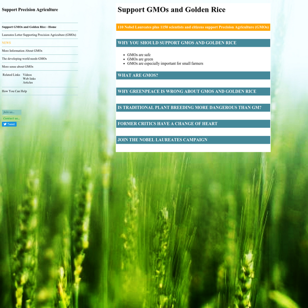 Support GMOs and Golden Rice | Support Precision Agriculture