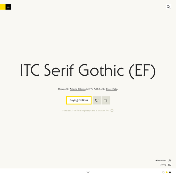 ITC Serif Gothic (EF) is a typeface designed by Antonio DiSpigna, and is available for Desktop. Try, buy and download these fonts now!