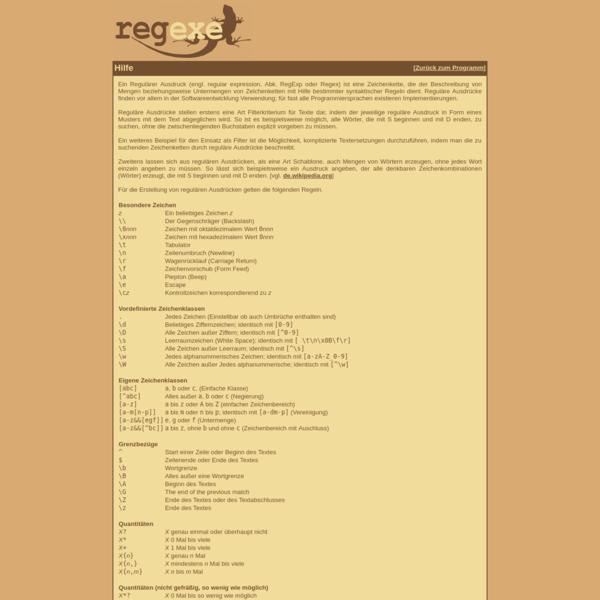 regexe - Hilfe für Reguläre Ausdrücke