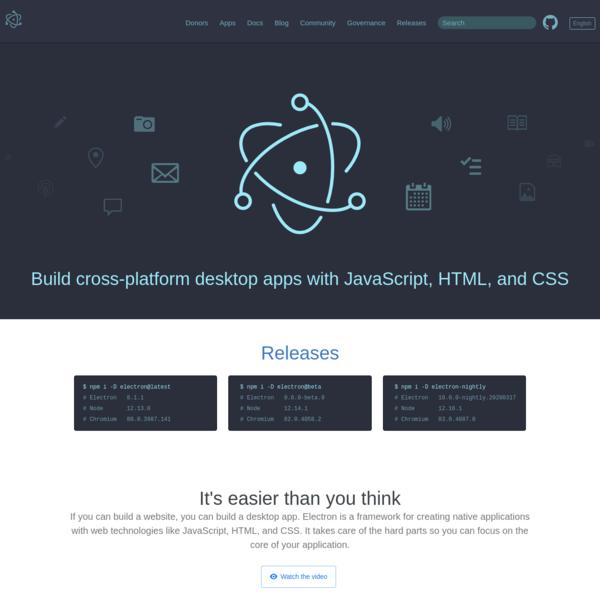 Electron | Build cross-platform desktop apps with JavaScript, HTML, and CSS.