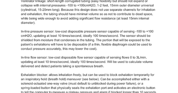 Specifications for simple open source mechanical ventilator Public