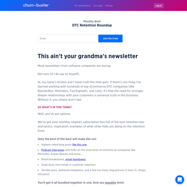 Newsletter Signup - DTC Retention Roundup | Churn Buster