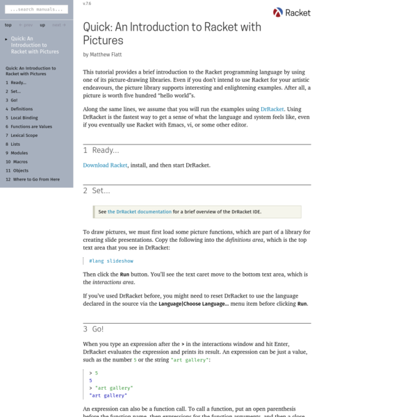 Quick: An Introduction to Racket with Pictures