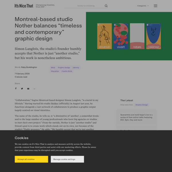 """Montreal-based studio Nother balances """"timeless and contemporary"""" graphic design"""