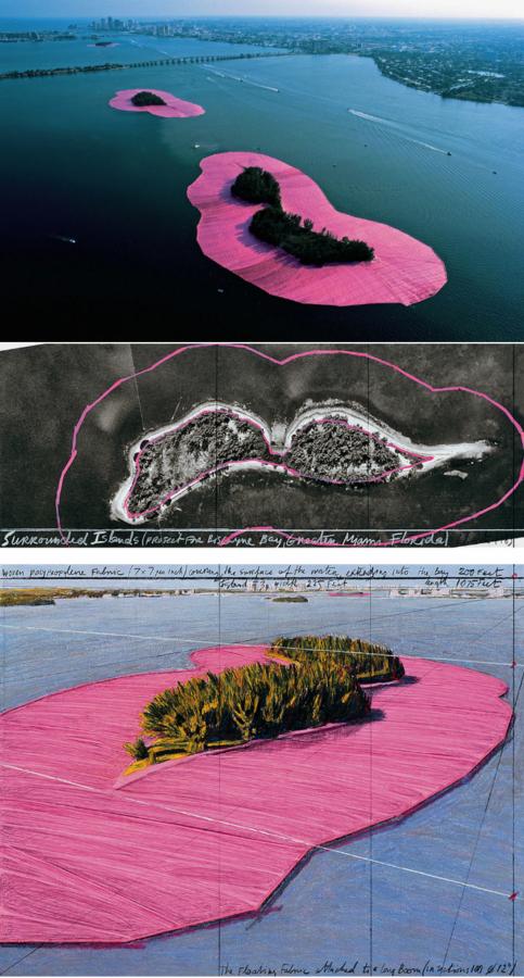 pretty famous Christo and Jeanne-Claude project in Miami in 1980-83