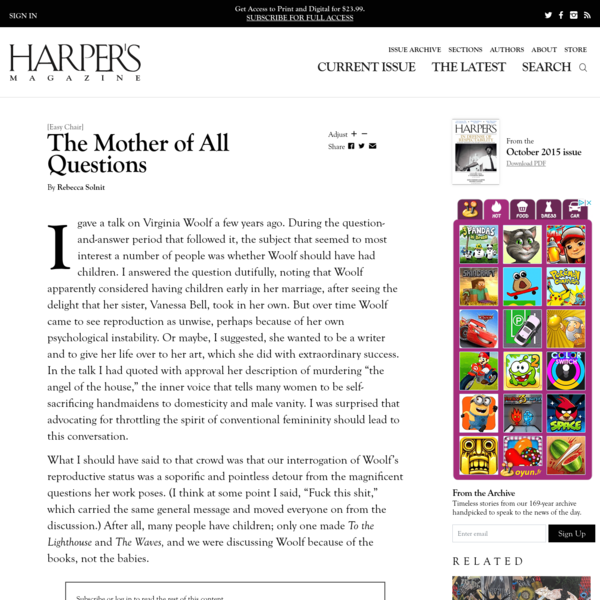[Easy Chair] | The Mother of All Questions, by Rebecca Solnit | Harper's Magazine