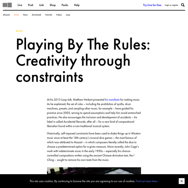 Playing By The Rules: Creativity through constraints | Ableton