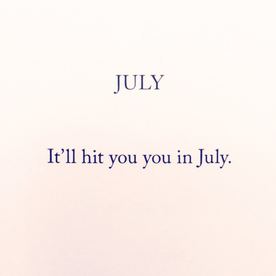 """July"", n.d., from <i>Complete Minimal Poems</i> (New York: Primary Information, 2016).<br><br>http://www.primaryinformation.org/product/aram-saroyan-complete-minimal-poems/"